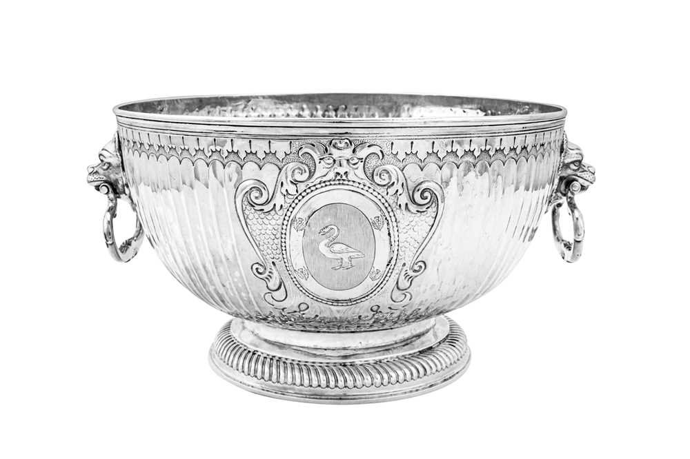A William III Britannia standard silver monteith bowl, London 1699 by James Chadwick (reg. April 169