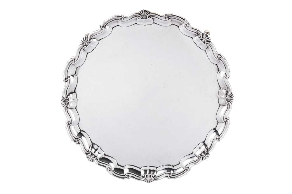 A large Edwardian sterling silver salver, Sheffield 1902 by James Dixon and Son