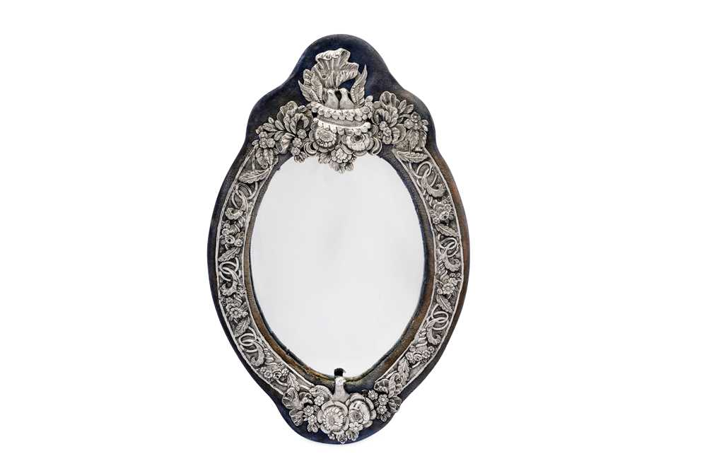 A late 19th century Ottoman Turkish 900 standard silver dressing table mirror, with Tughra of Sultan