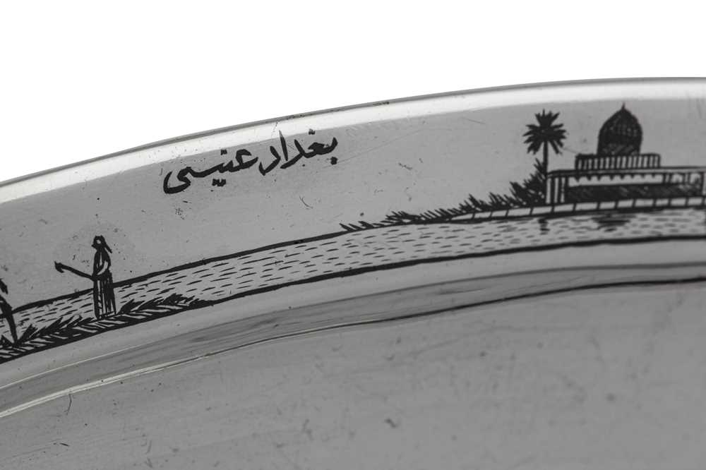 An early 20th century Iraqi silver and niello tray, Basra dated 1928 signed Baghdad Onaisi (Onaisi A - Image 3 of 5