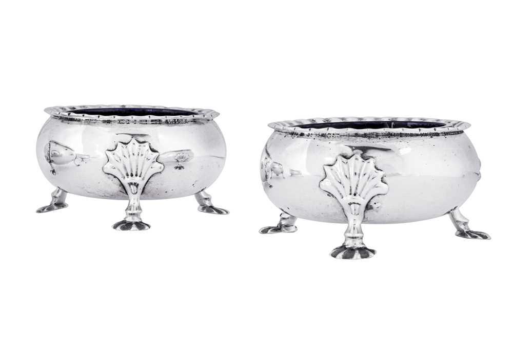 A pair of George II Scottish sterling silver salts, Edinburgh 1757 by Alexander Gardner