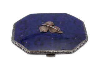 A mid-20th century Italian 18 carat gold mounted sterling silver and enamel compact, Firenze 1935-44