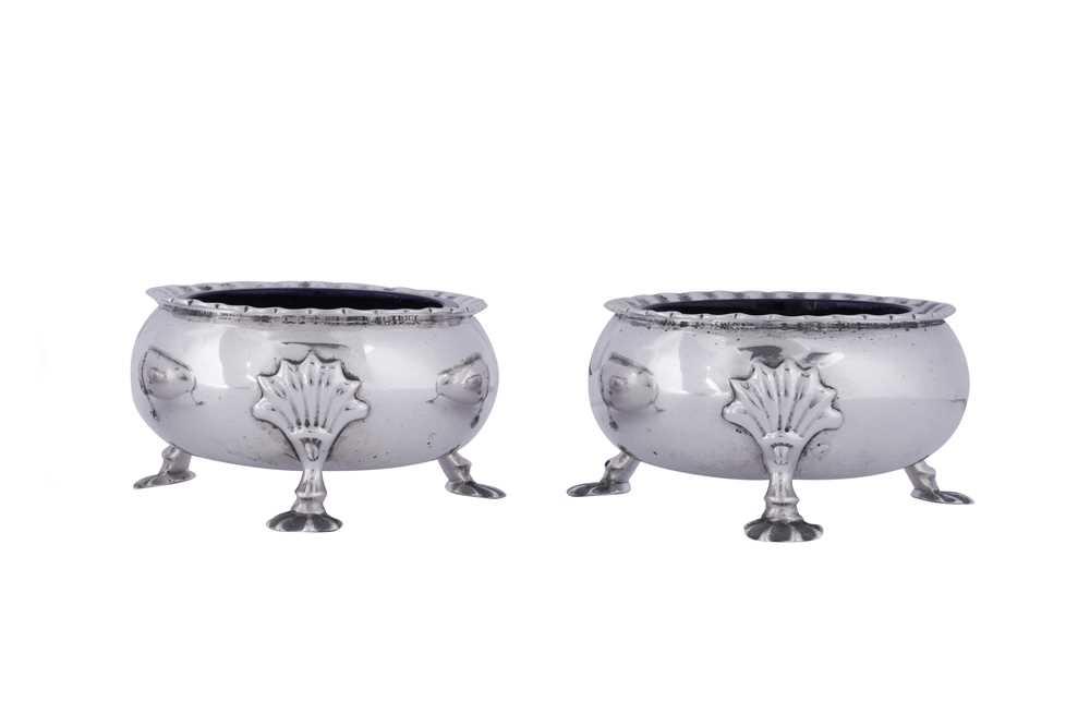 A pair of George II Scottish sterling silver salts, Edinburgh 1757 by Alexander Gardner - Image 2 of 4
