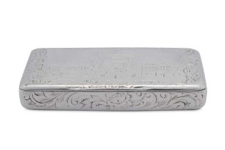 A late 19th century French 800 standard silver 'castle top' snuff box, Paris circa 1870 by Alfred-Ch