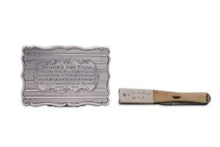 A Victorian sterling silver presentation snuff box, Birmingham 1858 by Edward Smith