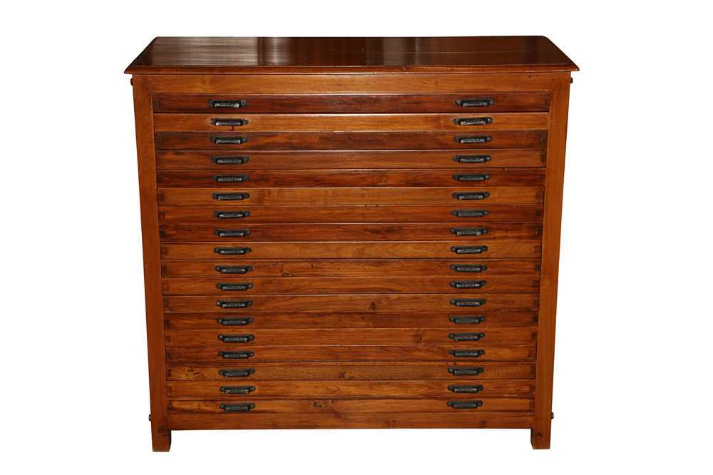 AN ANGLO INDIAN TEAK PRINTERS CABINET, MID 20TH CENTURY