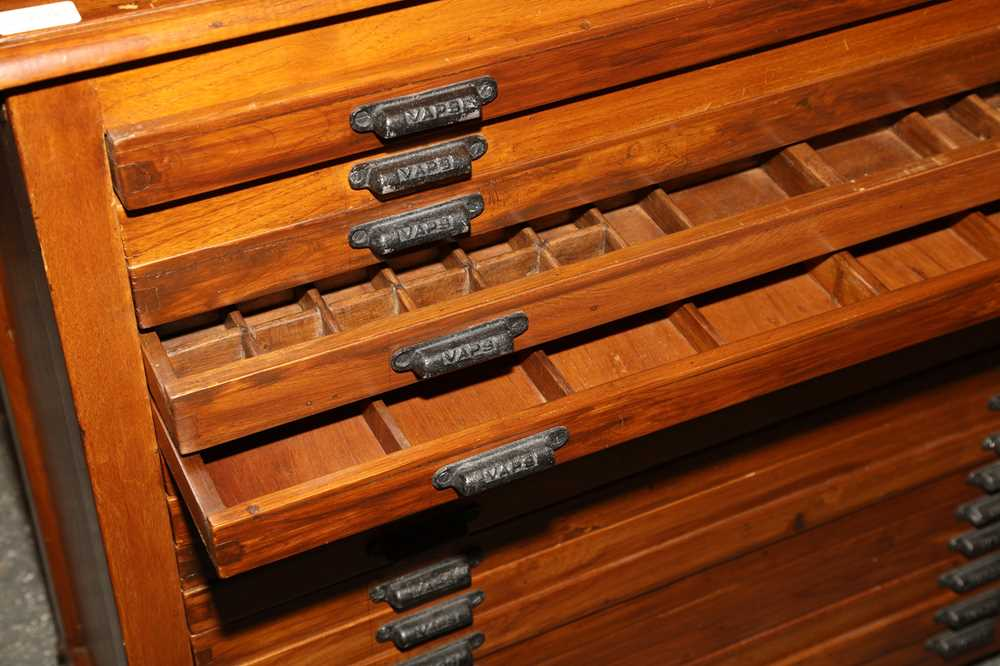 AN ANGLO INDIAN TEAK PRINTERS CABINET, MID 20TH CENTURY - Image 2 of 2