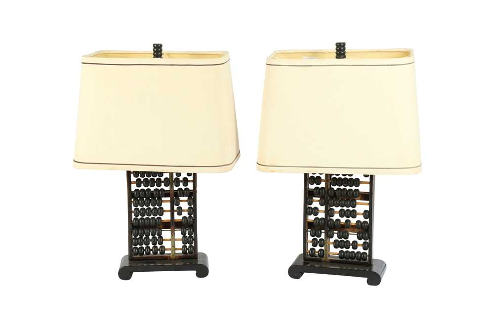 A PAIR OF CHINESE ABACUS TABLE LAMPS, LATE 19TH / EARLY 20TH CENTURY