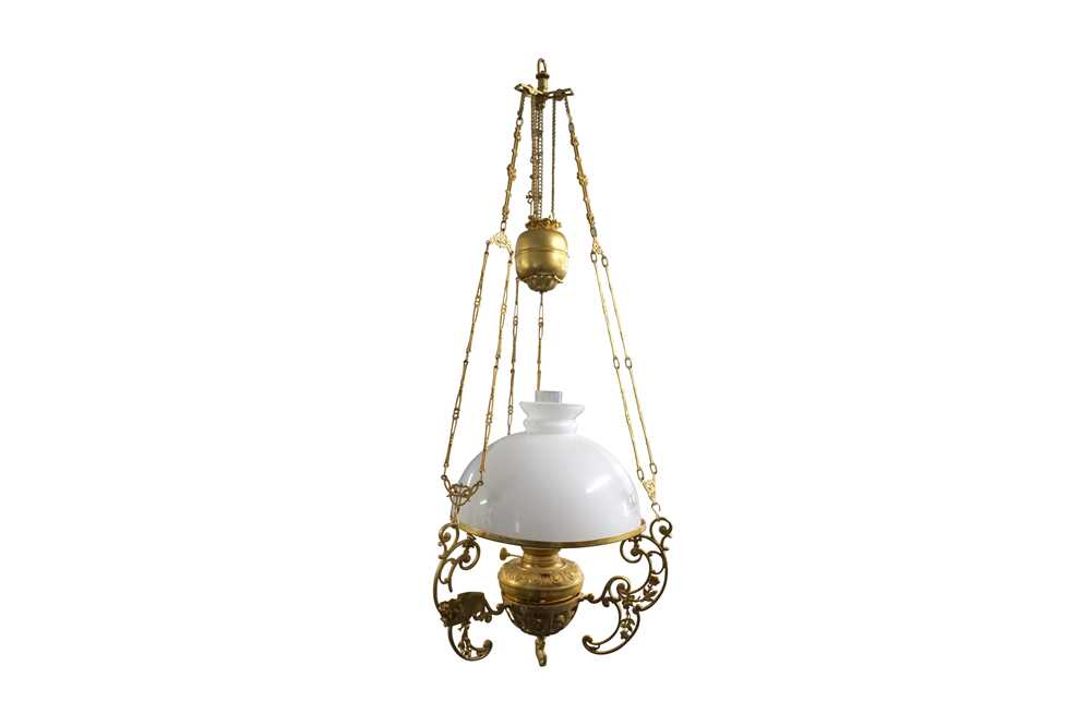 AN ANGLO INDIAN RISE AND FALL GILT BRASS HANGING LAMP, LATE 20TH CENTURY - Image 2 of 4