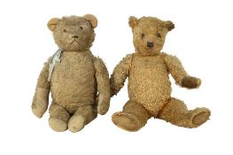 TOYS: TWO LARGE PLUSH TEDDY BEARS, EARLY/MID 20TH CENTURY