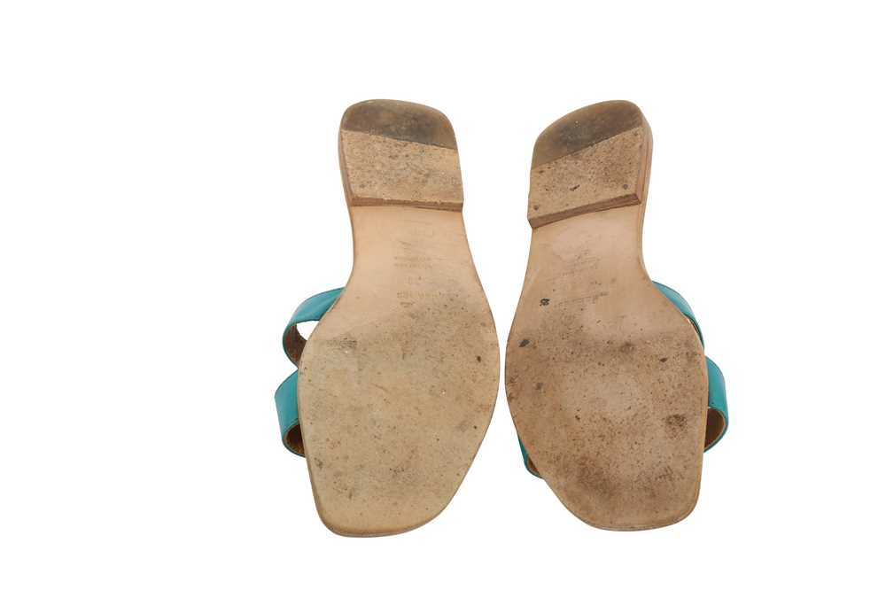 Hermes Oran Sandals Teal and Bronze - Size 39 - Image 4 of 8