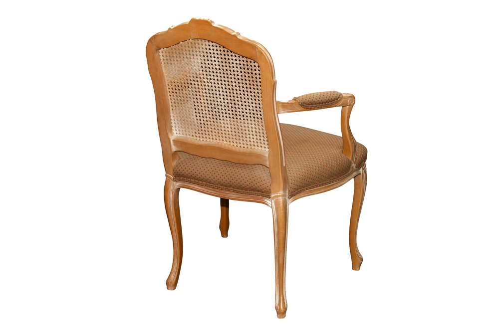 A FRENCH LOUIS XV STYLE LIMED BEECH FAUTEUIL, LATE 20TH CENTURY - Image 2 of 2
