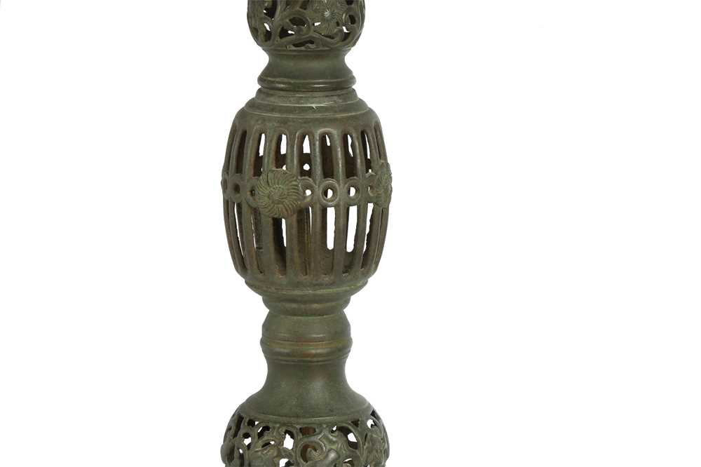A PAIR OF JAPANESE PIERCED BRONZE LANTERN BASES, LATE 19TH CENTURY - Image 3 of 3