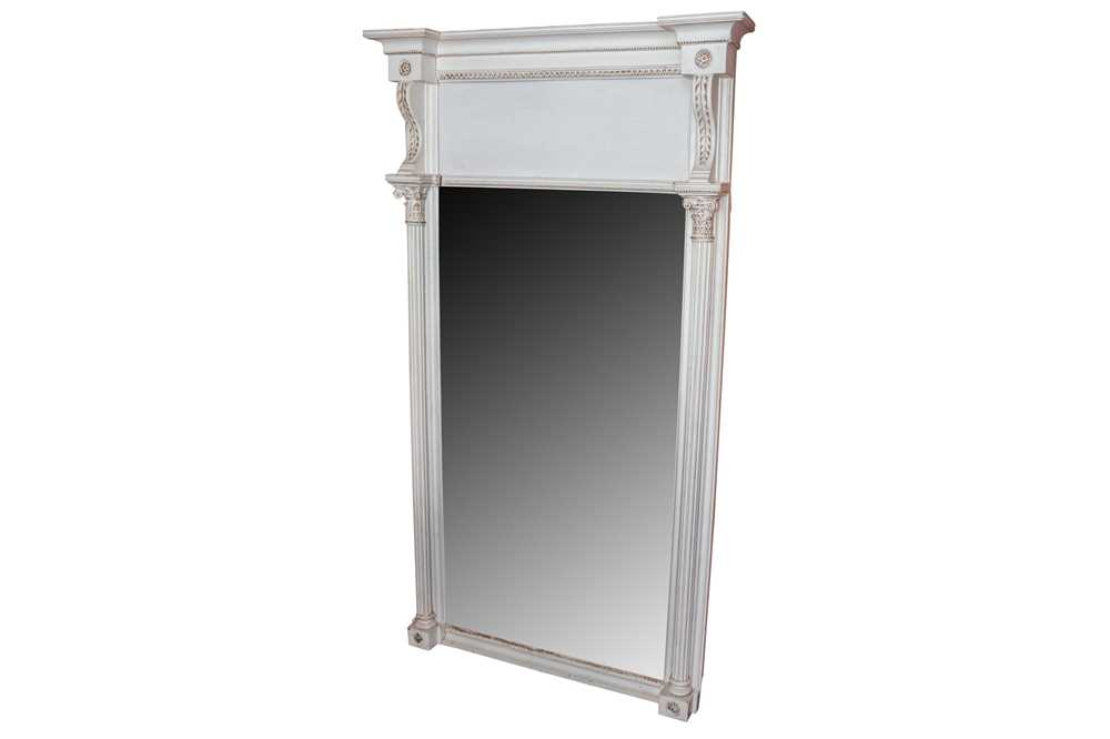 A REGENCY WHITE PAINTED AND PARCEL GILT PIER MIRROR, CIRCA 1830S AND LATER