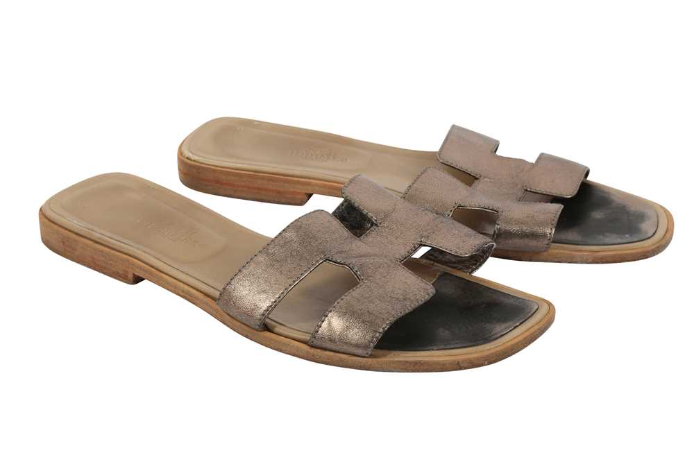 Hermes Oran Sandals Teal and Bronze - Size 39 - Image 6 of 8