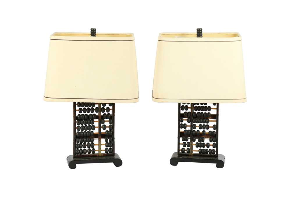 A PAIR OF CHINESE ABACUS TABLE LAMPS, LATE 19TH / EARLY 20TH CENTURY - Image 4 of 4