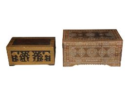 AN ANGLO INDIAN MOTHER OF PEARL INLAID TRUNK, 20TH CENTURY