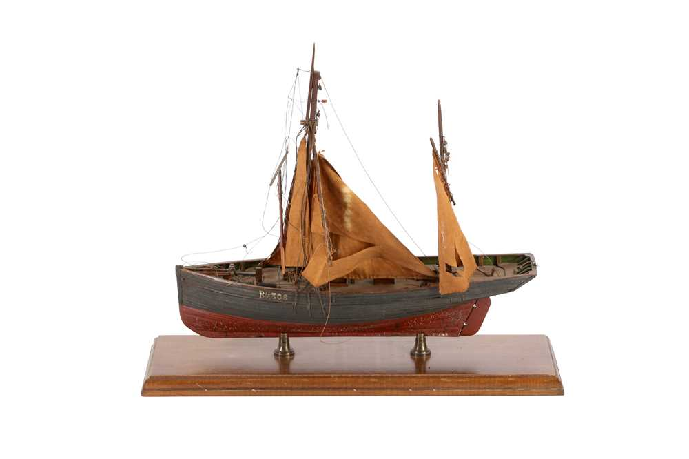 A WOODEN MODEL OF A CLINKER BUILT KETCH, MID/ LATE 20TH CENTURY