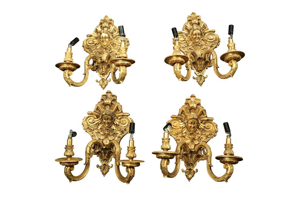 A SET OF FOUR FRENCH TASTE GILT BRONZE TWO LIGHT WALL LIGHTS, 20TH CENTURY
