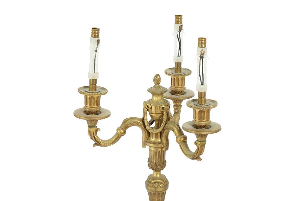 A PAIR OF LOUIS XVI STYLE BRONZE CANDLESTICKS, EARLY 20TH CENTURY - Image 2 of 3