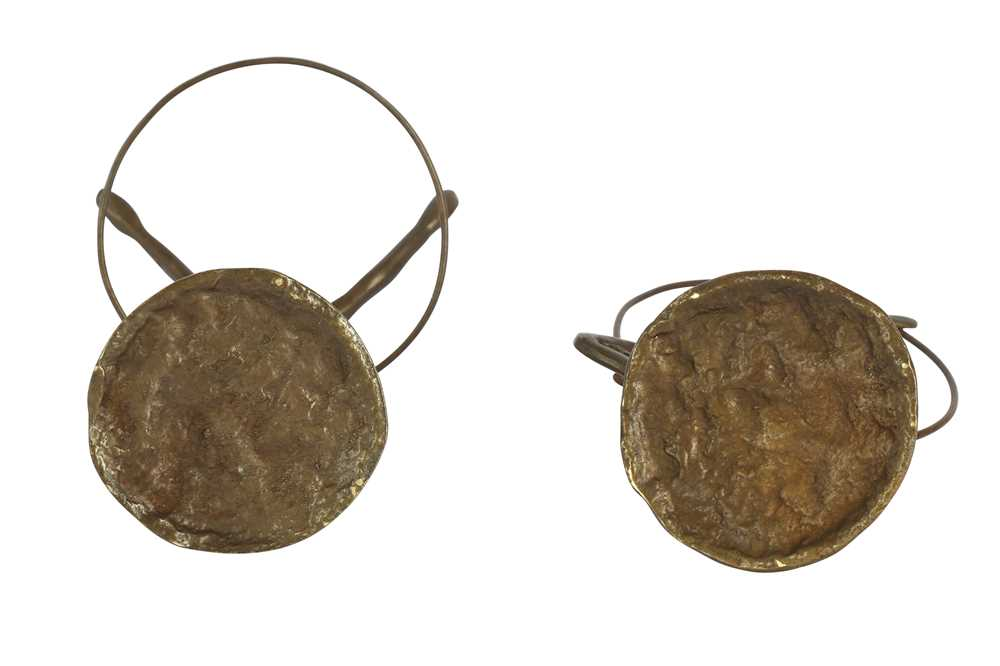TWO BRONZE FIGURES OF GYMNASTS WITH HOOPS, LATE 20TH CENTURY - Image 3 of 3