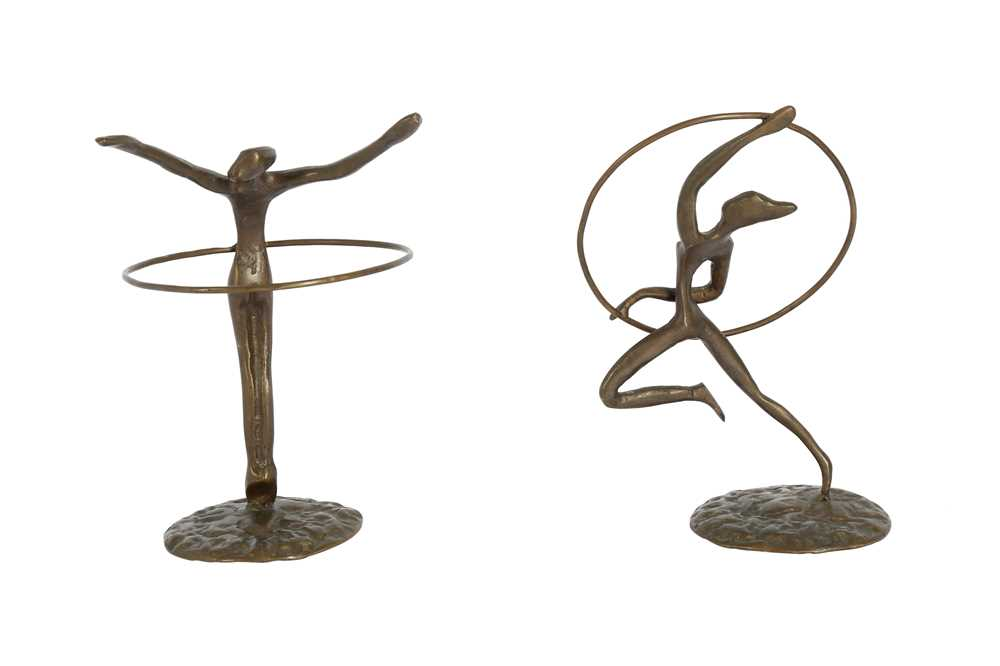 TWO BRONZE FIGURES OF GYMNASTS WITH HOOPS, LATE 20TH CENTURY