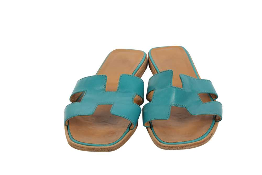 Hermes Oran Sandals Teal and Bronze - Size 39 - Image 3 of 8