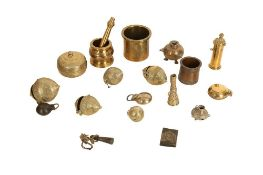 A MISCELLANEOUS GROUP OF BRASS MINIATURE VESSELS AND COSMETIC TOOLS India, late 19th - 20th century