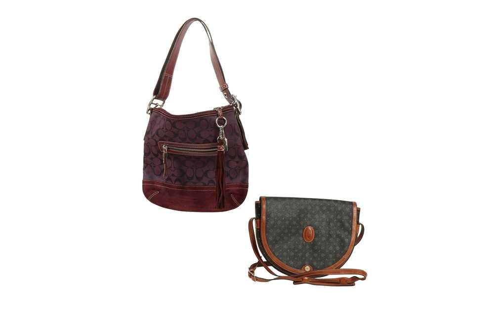 Coach Purple Shoulder Bag and Pollini Black Crossbody Bag