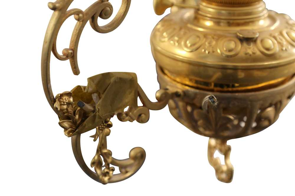 AN ANGLO INDIAN RISE AND FALL GILT BRASS HANGING LAMP, LATE 20TH CENTURY - Image 3 of 4