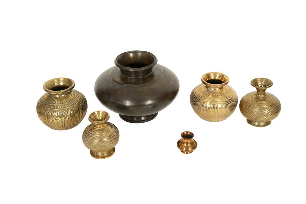 A COLLECTION OF SIX MINIATURE LOTAS (WATER VESSELS) India, 19th century