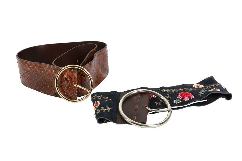 Two Dolce & Gabbana Wide Waist Belts - Size 80 & 90