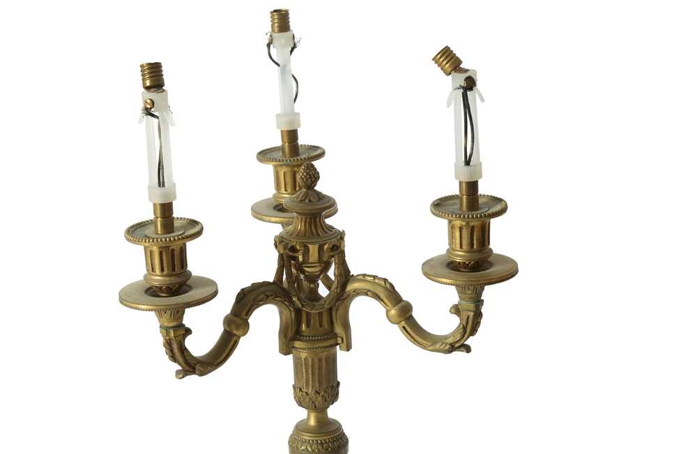 A PAIR OF LOUIS XVI STYLE BRONZE CANDLESTICKS, EARLY 20TH CENTURY - Image 3 of 3