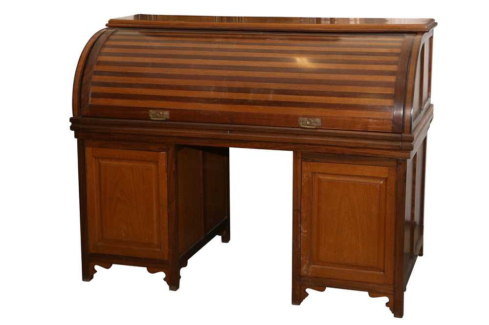 AN ANGLO INDIAN TEAK AND ROSEWOOD CYLINDER BUREAU, MID 20TH CENTURY
