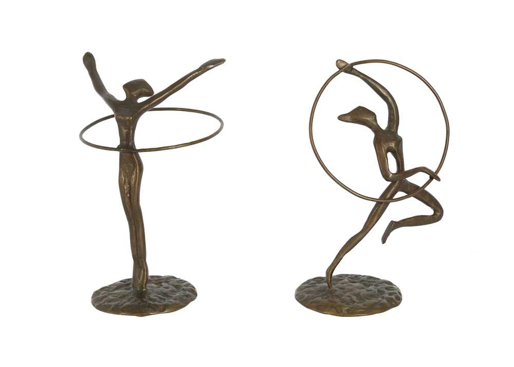 TWO BRONZE FIGURES OF GYMNASTS WITH HOOPS, LATE 20TH CENTURY - Image 2 of 3