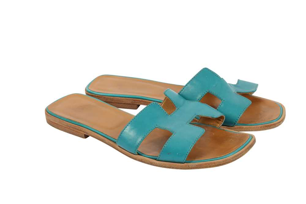 Hermes Oran Sandals Teal and Bronze - Size 39 - Image 2 of 8