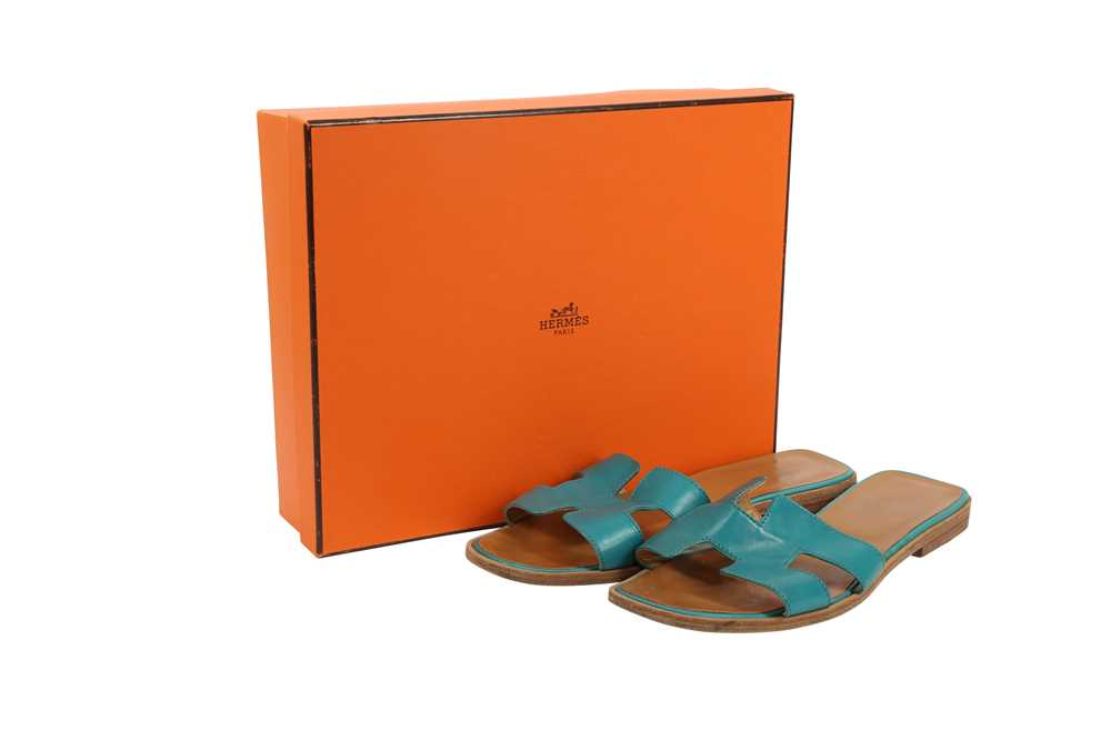 Hermes Oran Sandals Teal and Bronze - Size 39