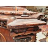 A LARGE MID VICTORIAN FIGURED MAHOGANY AND BIRDS EYE MAPLE CELLARETTE