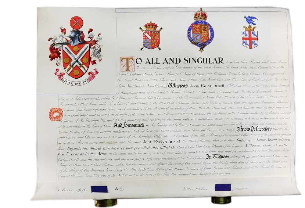 Grant of Arms.- John Evelyn Ansell