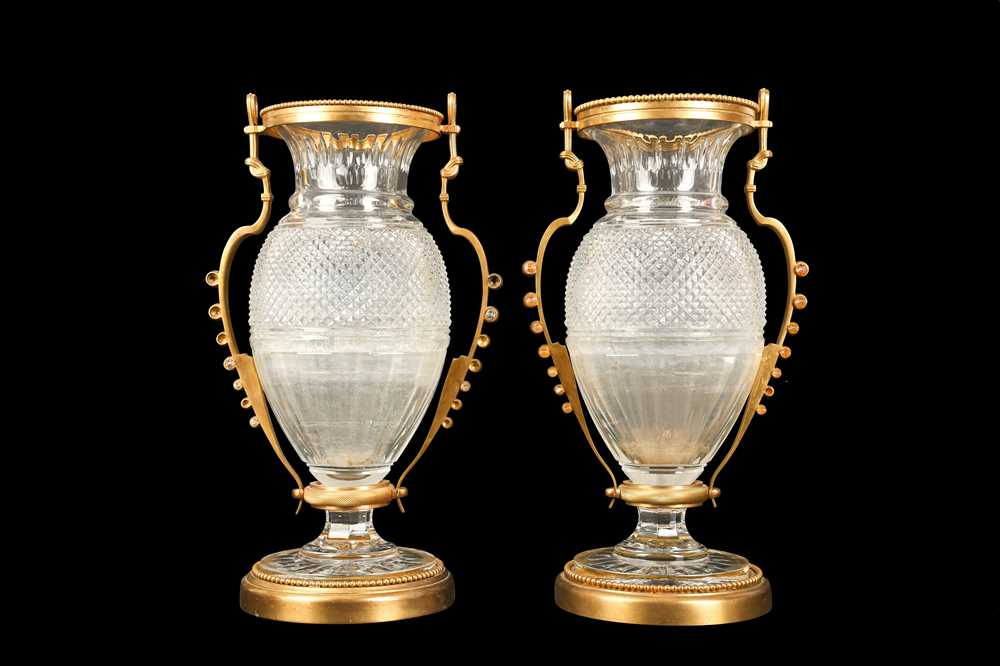 A PAIR OF BELLE EPOQUE STYLE BACCARAT GILT BRONZE MOUNTED GLASS VASES