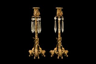 A PAIR OF LATE 19TH CENTURY FRENCH GILT BRONZE AND CUT GLASS CANDLESTICKS