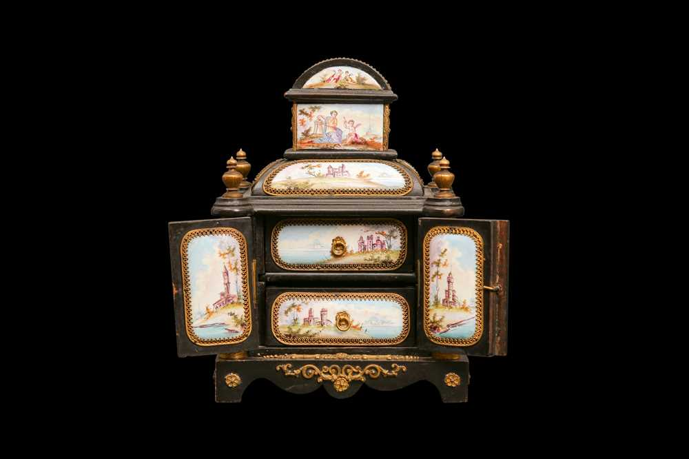 A LATE 19TH CENTURY VIENNESE ENAMEL MINIATURE TABLE CABINET - Image 2 of 9