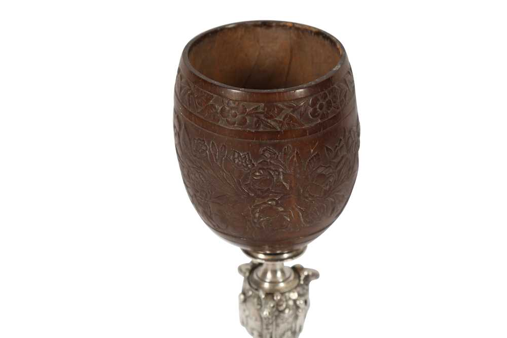 A FINE 19TH CENTURY FRENCH COCONUT CUP MOUNTED ON AN ELKINGTON TYPE ELECTROPLATED BASE - Image 4 of 5