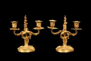 A FINE PAIR OF LATE 19TH CENTURY FRENCH GILT BRONZE CANDLESTICKS BY JOLLET & CIE, PARIS