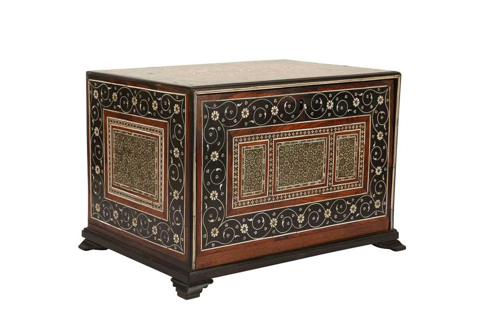 A 16TH / 17TH CENTURY AND LATER INDO-PORTUGUESE IVORY AND MICROMOSAIC INLAID TABLE CABINET GUJARAT O - Image 2 of 8