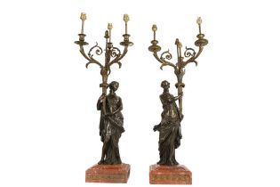 A LARGE AND IMPRESSIVE PAIR OF 19TH CENTURY BRONZE FIGURAL CANDELABRA LAMPS NAPOLEON III PERIOD, IN