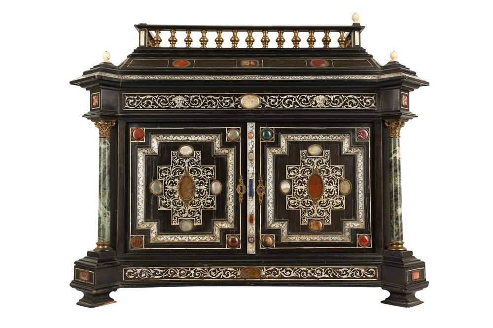 A 19TH CENTURY ITALIAN EBONISED, HARDSTONE AND IVORY INLAID TABLE CABINET