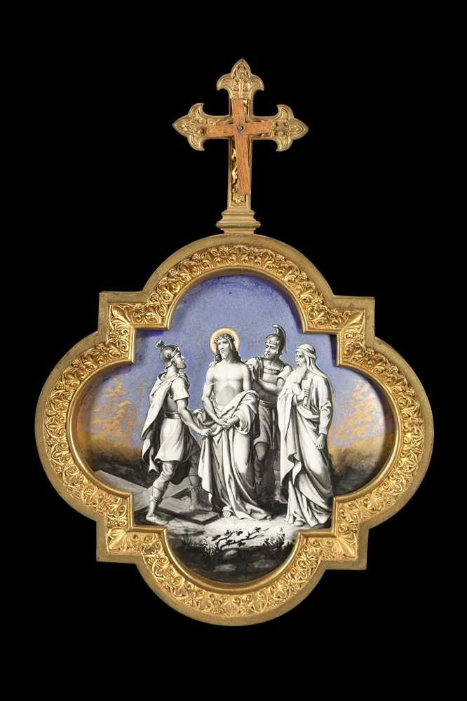 A SET OF LATE 19TH CENTURY FRENCH GILT BRONZE AND PORCELAIN PANELS DEPICTING THE STATIONS OF THE CRO - Image 2 of 14