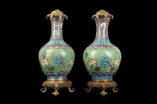 A PAIR OF 20TH CENTURY CHINESE CLOISONNE URN LAMP BASES