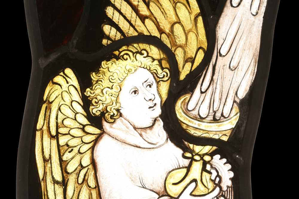TWO ENGLISH MID 15TH CENTURY STYLE STAINED GLASS PANELS OF ANGELS - Image 4 of 4
